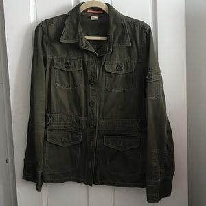 J.Crew Cotton Army Green Utility Jacket Sz L
